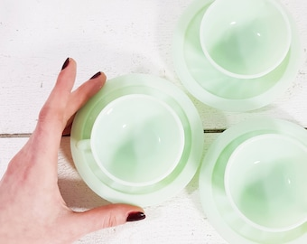 Set of 3 Fire King Jadeite Cups Saucers, Jadeite Coffee Cups, Green Milk Glass, Jadeite Cups and saucers, Jadeite Fire King, Demitasse Cup