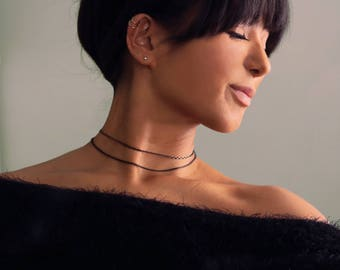 Black + Gold Layered Chain Choker Necklace