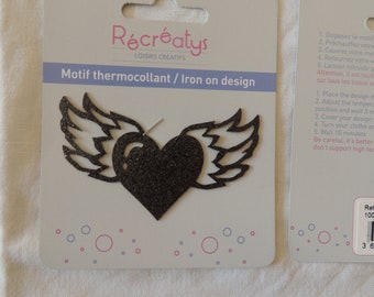 Fusible black winged heart motif