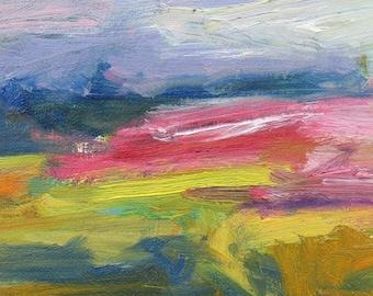 Rosa Feld GICLEE ART PRINT 8 x 11 Rosa abstrakte Landschaft grünes Feld