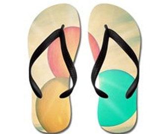 Flip Flops, chaussures, tongs de Aloha pantoufles Summertime - célébration, ballons, soleil, ensoleillé, photographie, RDelean