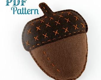 Acorn Sewing Pattern. Felt Acorn. Digital Pattern. Beginner Tutorial. Kids Crafts. Embroidery. Hand Sewing. PDF Pattern. Fall. Autumn Toy