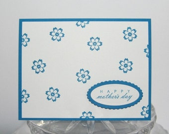 Happy Mother's Day Blue Flowers Hand Made Card, Floral Card for Grandmother. Mothers Day Card