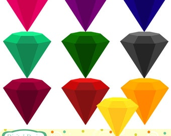 Gemstones clip art set, 10 designs. INSTANT DOWNLOAD for Personal and commercial use.