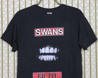 The Swans vintage rare t-shirt, double sided Filth tee, black, Michael Gira, Jarboe, No Wave, Sonic Youth