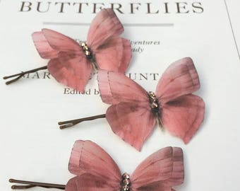 Pretty Rose Gold Silk Butterfly Hair Pin with Swarovski Crystals