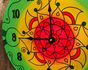 Flores de Verano Clock - Southwestern Style Geometric Mandala Painting on Vinyl Record