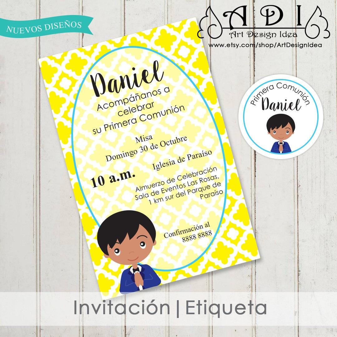 Invitacion niño primera comunion First communion invite Boy