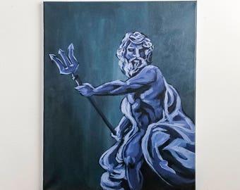 Poseidon // Greek Series Original 16x20 Acrylic Painting