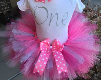 Silver and Pink One 1st First Birthday Tutu Outfit Dress Set Handmade - ANY Age - QUICK SHIP
