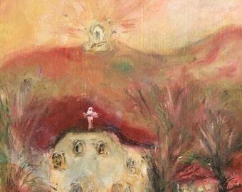Fauvist Oil Painting, Church Landscape