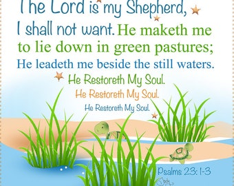 """AP6.54. Ps.23. The Lord is my Shepherd. 6"""" square Fabric Art Panel"""