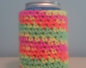 Crochet Rainbow Bottle Cozy // Beer Cozy // Can Cozy //  Beer Sleeve // Can Sleeve // Soda Cozie // Pop Cozie // Soda Pop Cozy // Cozies //