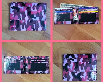 Pink Camo and Black Duct Tape Wallet
