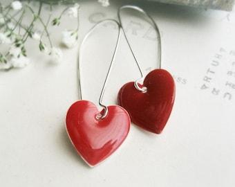 Love Heart Red Scarlet Earrings