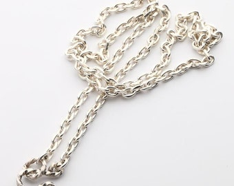 925 Silver Chain Necklace   Plain Silver Chain   Simple Silver Necklace   Cable Chain Necklace   Men Silver Cable Chain   Twisted Hook Clasp