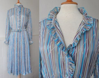 Beautiful Sheer Pure Silk Dress // Werner Graumann Jeune Femmes Pret A Portier // Stripes And Silver