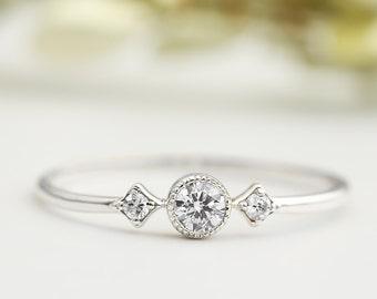 White diamond engagement ring Platinum or white gold, 3mm white diamond stacking ring, conflict free, three stone ring
