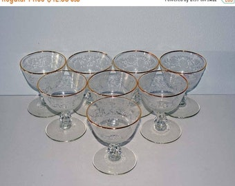 Memorial Day Sale Set of 8 Elegant Gold Rimmed Footed 6 Ounce Champagne/Tall Sherbet Cups with Stippled Floral Design - Pattern: Lace by Lib