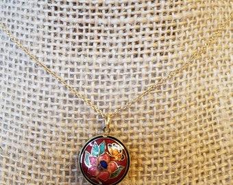 Vintage Cloisonne Butterfly Pendant, Cloisonne Pendant, Cloisonne Necklace