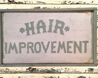 Hand-Painted Hair Baldness Vintage-Style Cosmetology Salon Trade Sign