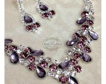 Wedding jewelry set ,bridesmaid jewelry set, Bridal necklace earrings, vintage inspired rhinestone jewelry, Purple crystal jewelry set