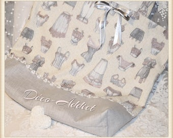 Shabby grey and pure linen tote bag printed cotton - fabric Designer theme Corsetry and petticoats
