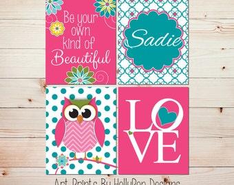 Pink turquoise girl nursery art Fun whimsical owls Quotes for girls LOVE print Baby girl nursery artwork Girls room decor Toddler girl #0738