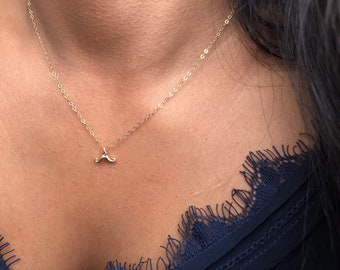 Mini Mustage Charm Necklace / Dainty Mini Mustage Jewelry/ Gold Mini Mustage Pendant