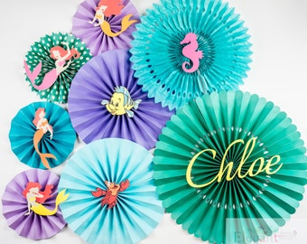 Paper Rosettes/Paper Fans/Pinwheel Backdrop/ paper pinwheels/ Ariel/ Birthday party/ baby shower/ engagement party/ flower backdrop/ Mermaid
