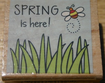 NEW Spring is Here Rubber Stamp Spring Garden Grass Flowers Sky Bumble Bee Prim