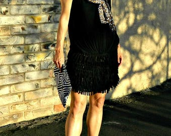 Boho Clothing-Womens Clothing-Mini Skirt-Boho Chic Clothing-Womens Skirts-Wrap Skirt-Maternity-Hand Cut Layered Fringe Callie Style
