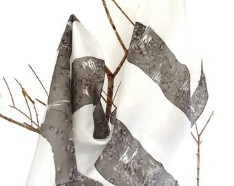 Silk scarf hand-painted. grey.. Silk shawl. gift for her.180x45cm.