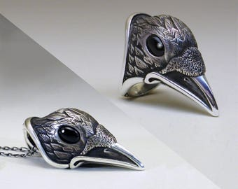 Raven Ring and Pendant SET in Sterling Silver with Genuine Black Onyx Eyes