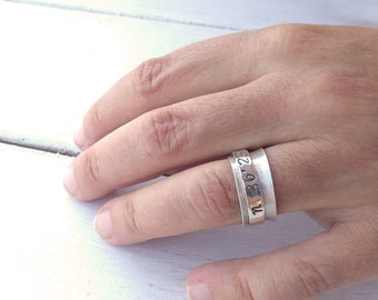 Personalized Coordinates Wide Band Ring, Personalized Jewelry, Men/Women Spinner Ring, Personalized Gift, Silver Custom Hand Stamped Ring