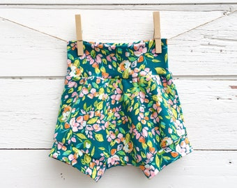 Floral Baby Shorts, Shorties, Teal and Pink Baby Girl Shorts, Diaper Cover, Baby Bloomers, Toddler Shorts, Summer Shorts, Baby Girl Clothes