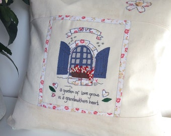 Grandmother Gift Cushion. free motion machine embroidery