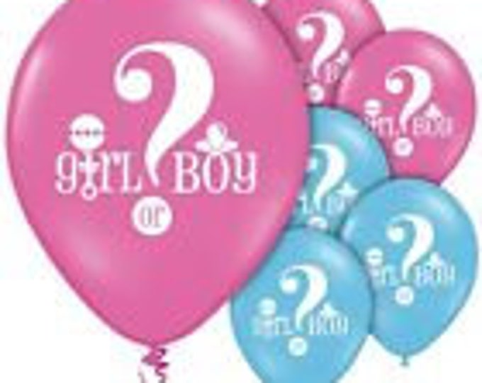 "10 Gender reveal baby shower latex balloons 12"" blue and pink"