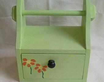 Handmade Kitchen Roll Holder with Drawer (Floral Pattern)