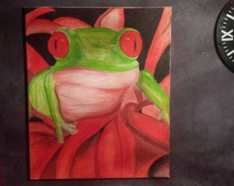 Large Hand Painted Tree Frog Canvas
