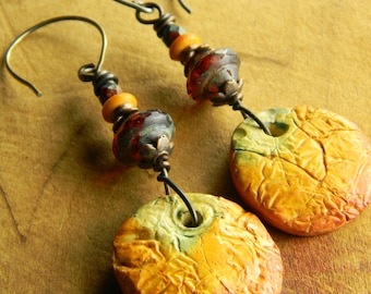 Yellow Orange Earrings, Tribal, Beaded, Polymer Clay, Artisan, Copper, Ochre, Ethnic Jewelry