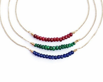 Layering Necklace, sapphire necklace, emerald necklace, ruby necklace, gold filled necklace, dainty necklace, stacking necklace, minimalist