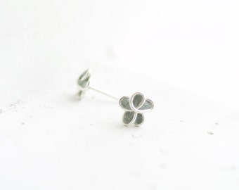 Ready to Ship, Slate Dove Gray Forget Me Not Post Earrings, 1st 4th Anniversary Gift Jewelry, Stocking Stuffer Best Friend Long Distance