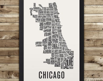 CHICAGO Neighborhood Typography City Map Print