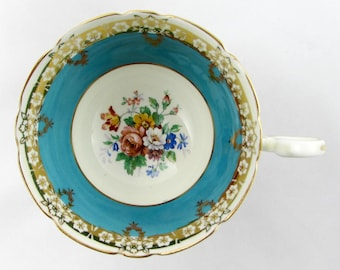 Aynsley Orphan Tea Cup, Blue with Floral Center, Replacement Tea Cup, Teacup ONLY, No Saucer