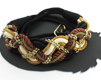 Brown Black Ivory Army Green & Gold Braided Rope and Gold Beaded Vintage Belt