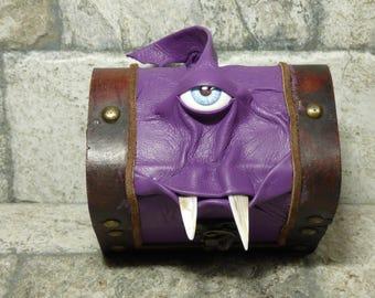 Mimic Monster Dungeons And Dragons Storage Desk Organizer Treasure Chest Trinket Stash Box Purple Leather 24