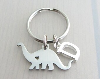 Dinosaur Charm Keychain, Letter Keychain, Personalised Keyring, Custom Initial Keyring, Stainless Steel Keyring, Dinosaur Gift, Name Gift
