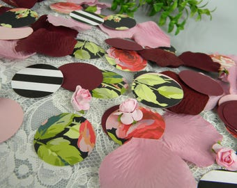 Floral Wedding Decoration / Table Scatter Unique Confetti / Black White Stripe and Flowers / Burgundy Pink Wedding Decor / 150 Pieces