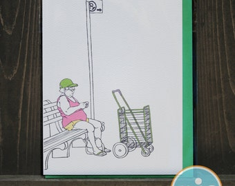 Lady on Bench - Brooklyn Note card